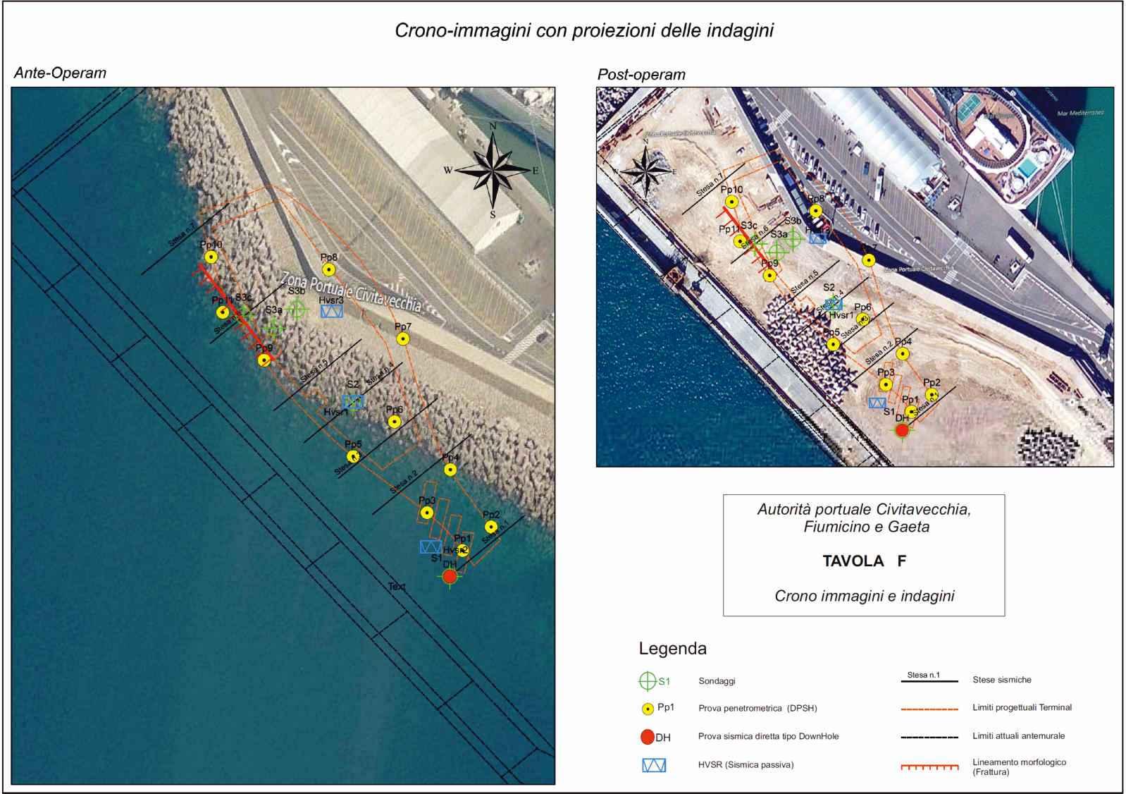 Esempio di restituzione grafica, tavola tecnica di ubicazione indagini in area portuale.