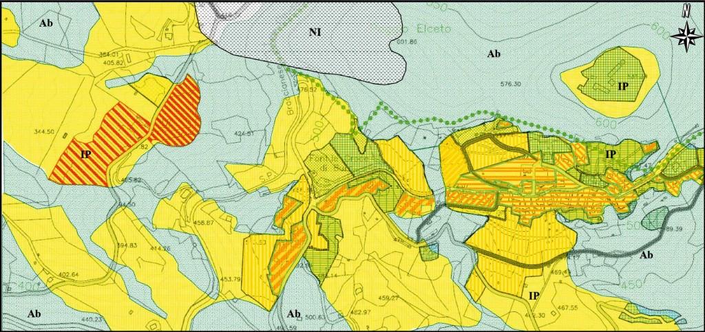 Tavola di idoneità territoriale sulla base del nuovo P.R.G. del Comune di Allumiere (RM) - Loc. La Bianca